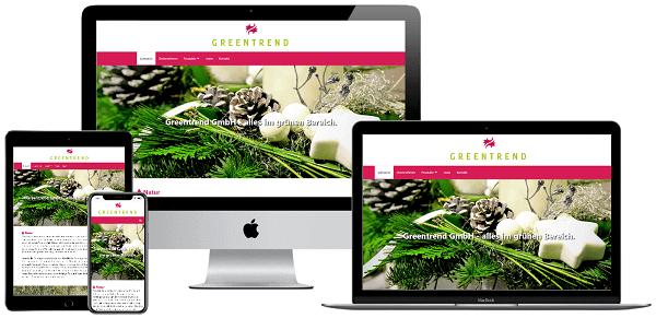 Bild der Webseite der Firma Greentrend GmbH